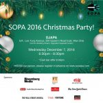 SOPA year-end Christmas Cocktail on Dec 7, Wed